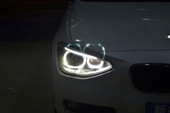 宝马116车灯改装118氙气灯总成天使眼