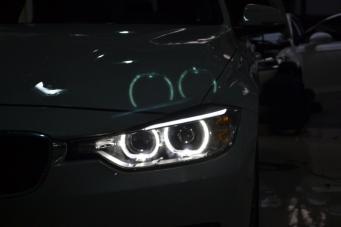 宝马316车灯升级320天使眼大灯总成氙气灯