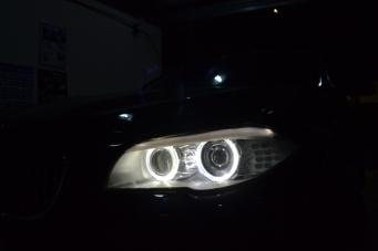 宝马5系车灯升级4双光透镜4近4远光照明