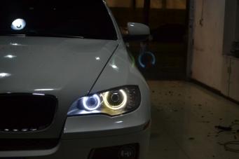 宝马X6车灯改装4近4远光4双光透镜