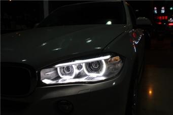 宝马X5车灯改装4海拉透镜 4近4远光照明效果