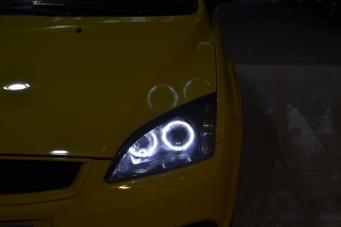 07款福克斯车灯改装天使眼双光透镜氙气灯