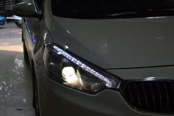 14款K3车灯改装Q5透镜欧司朗氙气灯LED日行灯