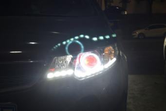 福瑞迪车灯改装双光透镜氙气灯LED日行灯天使眼