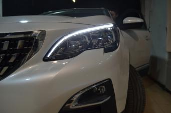 标致4008车灯改装海拉透镜欧司朗氙气灯