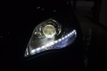 双龙柯兰多车灯改装大灯总成LED日行灯