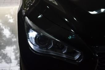 英菲尼迪Q50L车灯改装海拉透镜欧司朗氙气灯