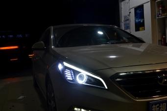 索纳塔九代车灯改装灯眉天使眼氙气灯