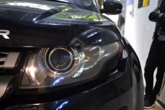 路虎极光车灯改装升级海拉透镜欧司朗氙气灯