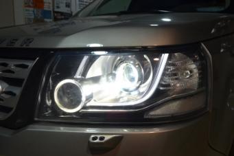 路虎神行者2车灯升级改装氙气灯LED大灯透镜