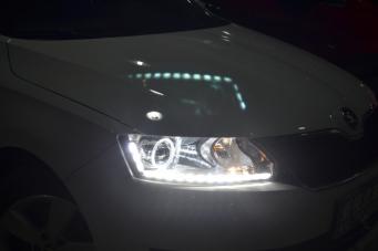 斯柯达昕锐车灯改装氙气灯LED日行灯