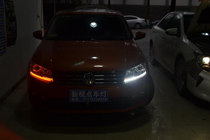 重庆改灯16款桑塔纳车灯改装透镜氙气灯led日行灯